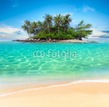 Naklejki Tropical island and sand beach exotic travel background