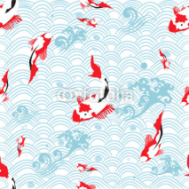 Naklejki Seamless pattern oriental texture with koi carp ; vector illustration