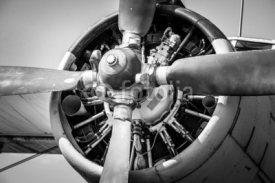 Fototapety Old vintage jet engine in black and white