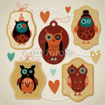 Fototapety set of  label with cute owls