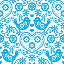 Fototapety Folk art seamless blue pattern with flowers and birds