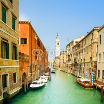 Naklejki Venice panorama in Greci water canal and church campanile. Italy