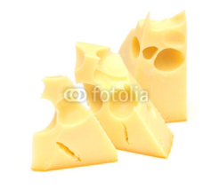Fototapety pieces of cheese isolated on white