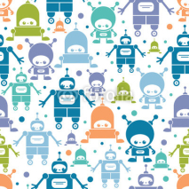 Naklejki Vector cute colorful cartoon robots seamless pattern background
