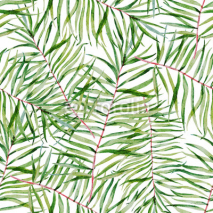 Fototapety Watercolor tropical leafs pattern