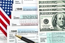 Fototapety Tax forms with pen, money and U.S. flag.