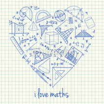 Naklejki Maths drawings in heart shape