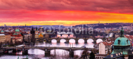 Fototapety Bridges in Prague over the river at sunset