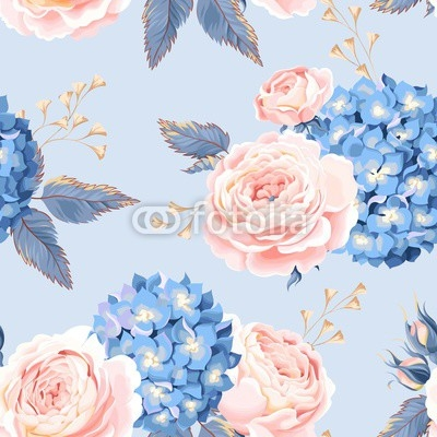 Seamless rose and hydrangea