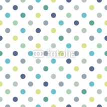 Naklejki Colorful polka dots vector white seamless background pattern