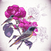 Obrazy i plakaty Vintage floral background with birds