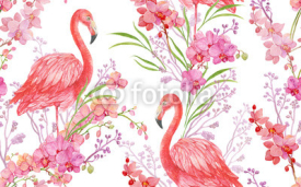 Fototapety seamless pattern floral background bird pink Flamingo and Orchid