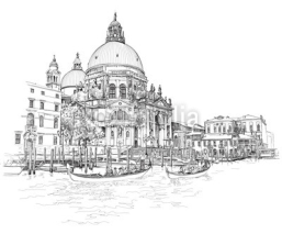 Naklejki Venice - Cathedral of Santa Maria della Salute - vector drawing