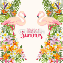 Fototapety Tropical Flowers. Flamingo Bird. Tropical Background. Tropical Vacation