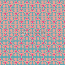 Fototapety Seamless floral pattern with primitive leaves. Tribal ethnic background, simplistic geometry, mint and pink. Textile design.
