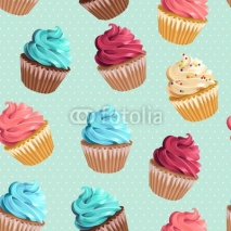 Fototapety Seamless cupcakes and polka dot