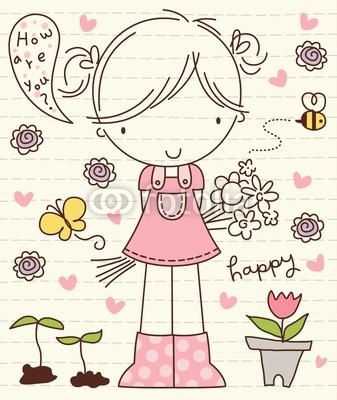 Vector Cute Little Girl with Flower Bunch