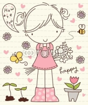 Fototapety Vector Cute Little Girl with Flower Bunch