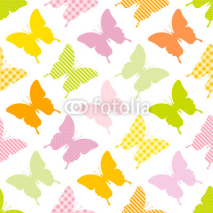 Fototapety Seamless Pattern Butterflies Stripes/Dots/Check Green