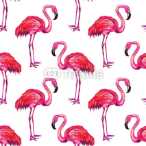Fototapety Seamless summer pattern with flamingo vector background. Perfect for wallpapers, pattern fills, web page backgrounds, surface textures, textile