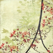 Obrazy i plakaty Tangled Blossom Border on Antique Paper