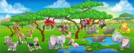 Obrazy i plakaty Cute Cartoon Safari Animal Scene Landscape
