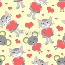 Obrazy i plakaty Cute romantic seamless pattern cat and mouse
