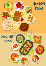 Healthy food icon set for cafe menu design