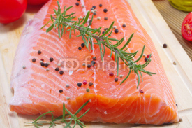Fototapety Fresh salmon fillet with herbs and vegetables