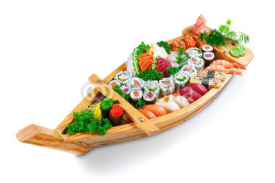 Fototapety Collection of species sushi on the decorative plate ship. On a w