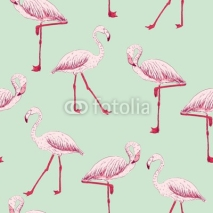 Fototapety vector sketch of a flamingo. hand drawn seamless pattern