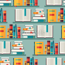 Obrazy i plakaty Seamless pattern with books on bookshelves in flat design style.