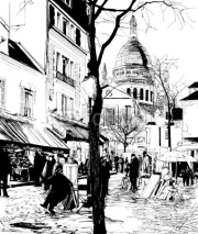 Naklejki Montmartre in winter