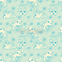 Obrazy i plakaty Vintage seamless pattern with bunnies and flowers
