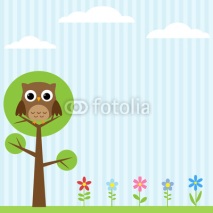 Obrazy i plakaty Background with flowers and owl sitting on the tree