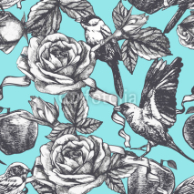 Naklejki Seamless pattern with hand drawn roses, apples and birds. Vector