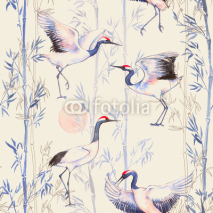Fototapety Hand-drawn watercolor seamless pattern with white Japanese dancing cranes. Repeated background with delicate birds and bamboo
