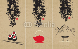 Fototapety three menu of Japanese cuisine