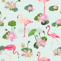 Fototapety Flamingo Bird and Waterlily Flowers Background. Retro Seamless Pattern