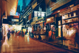 Naklejki colorful painting of night street.illustration