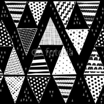 Fototapety Black and white vector seamless pattern with hand-drawn decorative triangles.