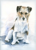 Fototapety Small dog watercolor painted.