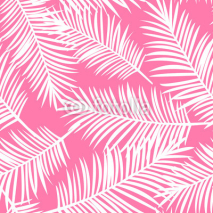 Naklejki white palm leaves on a pink background exotic seamless pattern v