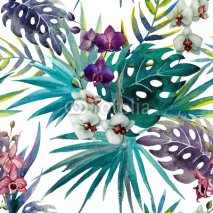 Naklejki pattern orchid hibiscus leaves watercolor tropics