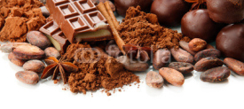 Fototapety Composition of chocolate sweets, cocoa and spices, isolated