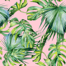Naklejki Seamless watercolor illustration of tropical leaves, dense jungle. Hand painted. Banner with tropic summertime motif may be used as background texture, wrapping paper, textile or wallpaper design.