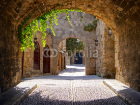 Naklejki Medieval arched street in the old town of Rhodes, Greece