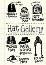 Naklejki Hand Drawn of Hat Gallery