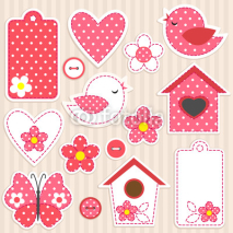 Obrazy i plakaty Vector scrapbook elements - love set