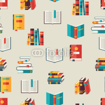 Obrazy i plakaty Seamless pattern with books in flat design style.